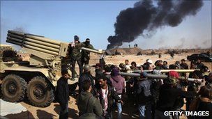 Libyan rebels in Ras Lanuf, 11 March