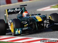 Team Lotus test driving in Barcelona
