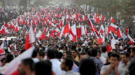 Protesters in Bahrain. Pic contributed.