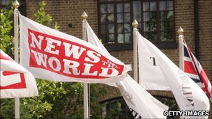 News of the World flag outside News International