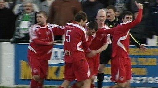 Brechin City players celebrating