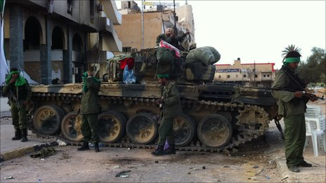 Fighters loyal to Col Gaddafi in Zawiya, Libya
