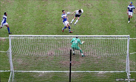 Lee Chung-Yong heads in Bolton's winner in their FA Cup tie at Birmingham