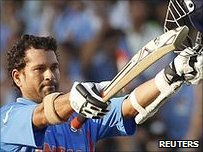 Sachin Tendulkar celebrates his 99th international century