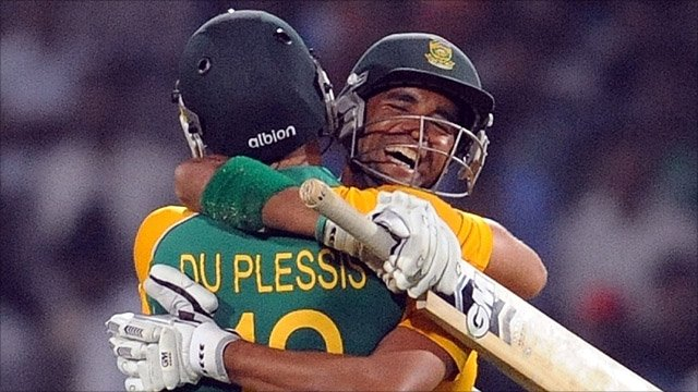 South Africa celebrate beating India