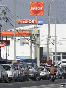 People queuing for fuel in Sendai