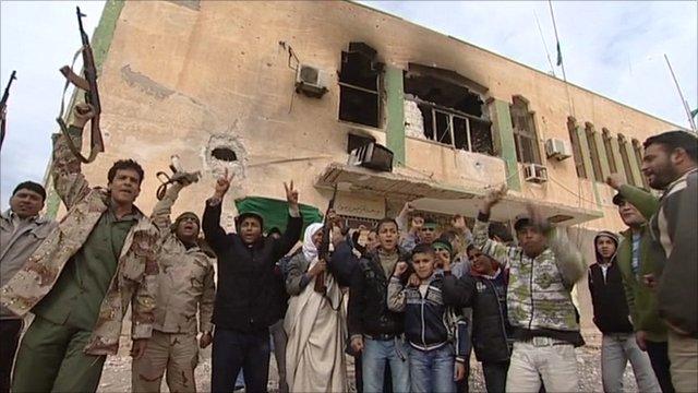 Supporters of Colonel Muammar Gaddafi in Bin Jawad