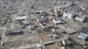 View of damage in Ofunato, 13 March 2011