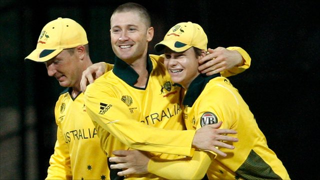 Michael Clarke celebrates running out Tanmay Mishra