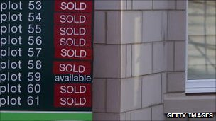 Sold signs on housing estate
