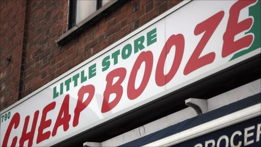 a 'Cheap Booze' sign