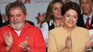 Former Brazilian president Luiz Inacio Lula da Silva (left) and Dilma Rousseff (right