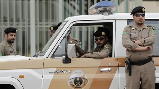 Saudi police pictured on Friday