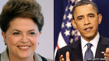 Dilma Rousseff(left), Barack Obama (right)