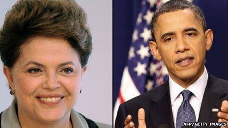 Dilma Rousseff(left), Barack Obama (right)