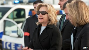 US Secretary of State Hillary Clinton arriving at Le Bourget airport near Paris (14 March 2011)