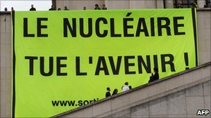 Anti-nuclear banner hoisted at the Trocadero esplanade in Paris