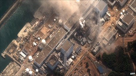 A satellite photo of the Fukushima Daiichi plant showed the damage done to reactors 1 and 3, where there was an explosion on Monday