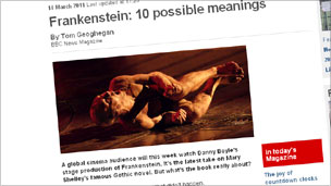 Magazine feature on Frankenstein