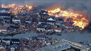 Destruction caused by the tsunami