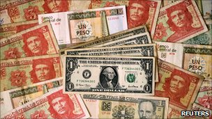 Cuban and US banknotes in Havana