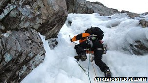 Ice climbing. Pic: Christopher Sleight