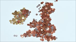 UK map in coins