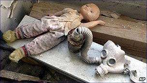 Doll and gas mask at Chernobyl