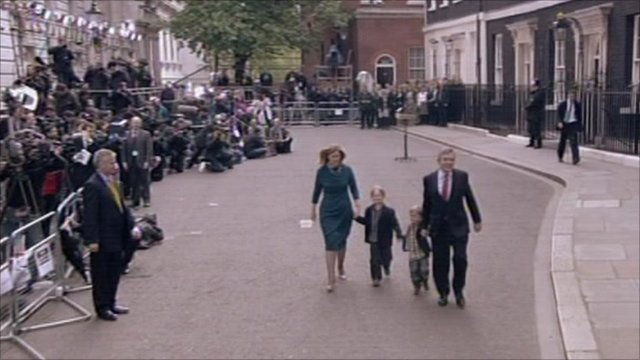 Browns leaving Downing Street