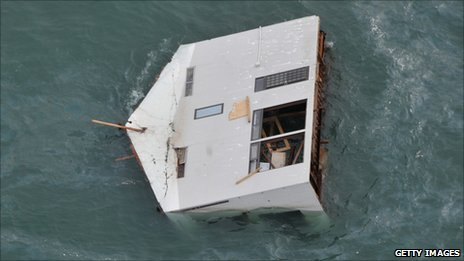 House floating off the coast of north-east Japan