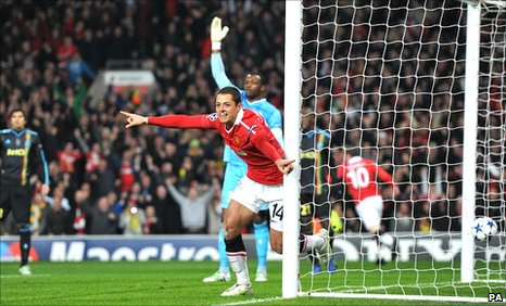 Javier Hernandez celebrates after opening the scoring for Manchester United against Marseille
