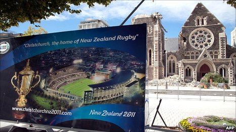 A Rugby World Cup advert outside the damaged Christchurch Cathedral