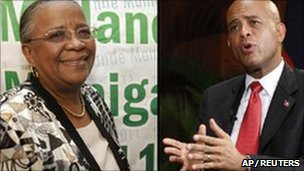 Mirlande Manigat (left), Michel Martelly (right)