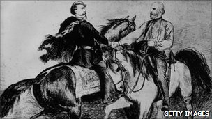 Gen Garibaldi with unified Italy&#039;s first king, Victor Emmanuel II (circa 1862)