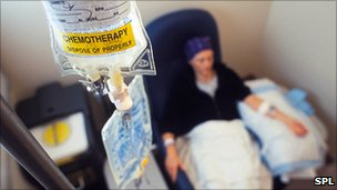 Female patient receiving anti-cancer drugs from an intravenous drip bag