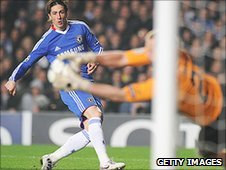 Chelsea striker Fernando Torres has a shot saved by Copenhagen keeper Johan Wiland