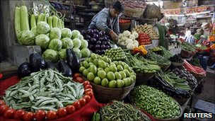 A vendor selling vegetables in India