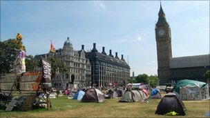 'Democracy Village' in Parliament Square