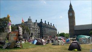 'Democracy Village' in Parliament Square