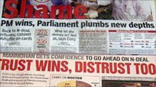 News headlines of the 2008 confidence vote