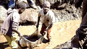 Miners of minerals in DRC