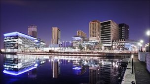 Nightshot of MediaCityUK