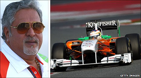 Force India owner and team boss Vijay Mallya  and the 2011 car