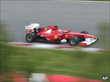Fernando Alonso's Ferrari at the Barcelona pre-season test
