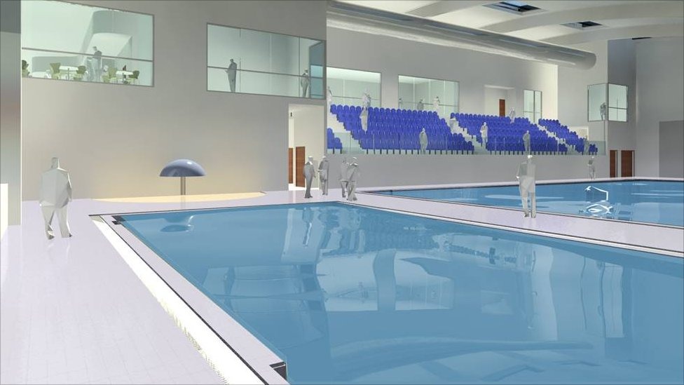 Bbc news first look at matlock 39 s new 12m leisure centre - Arc swimming pool ...