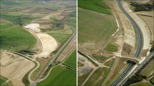 Before and after image of the Weymouth to Dorchester relief road