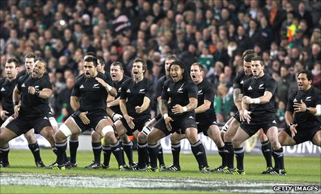 New Zealand All Blacks performing the Hakka