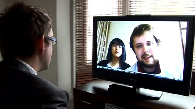 Robert Bailey and his wife Mai talking on Skype