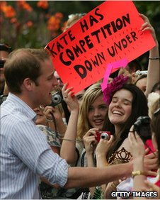 Prince William with crowds in Australia