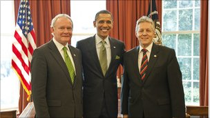 Peter Robinson, Martin McGuiness and Barack Obama